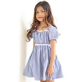 Đầm Bé Gái Kika Caro Xanh Viền Ngực Trắng K103