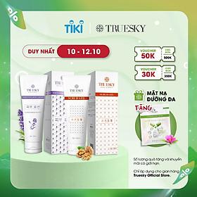 Bộ sản phẩm Truesky VIP13 gồm 1 kem dưỡng trắng lavender 100ml & 1 tẩy tế bào chết 100ml