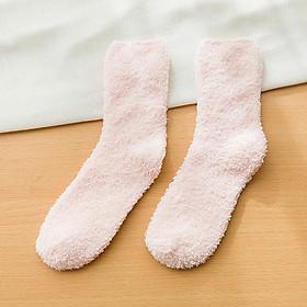 Women Cute Candy Color Soft Fluffy Socks Coral Velvet Winter Warm Socks Girls Terry Fuzzy Socks