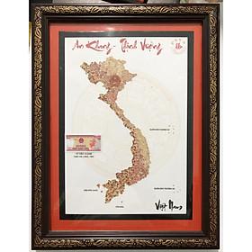 Khung tranh An khang thịnh vượng Việt Nam thủ công bằng tiền cổ, 10 ngàn đồng Việt Nam 1993