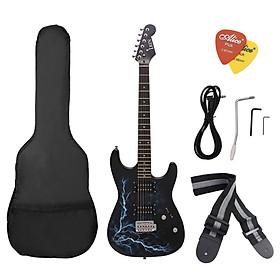 Bộ Guitar Điện Có Thân Bằng Gỗ Trầm + Phím Bằng Gỗ Tử Đàn Kèm Túi, Miếng Gảy Và Dây Đeo - Đen