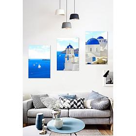 Bộ 3 tranh treo tường trên nền canvas cảnh biển Santorini Hy Lạp tuyệt đẹp trang trí phòng khách nhiều kích cỡ