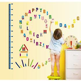 Decal dán tường bảng chữ cái giúp bé học giỏi thông minh có thước đo chiều cao