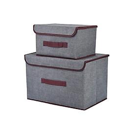 Set 2 túi vải đựng đồ khung cứng phong cách Hàn Quốc