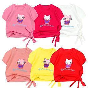 Áo thun cột nơ croptop tay ngắn thêu Kitty cho bé gái từ 10 đến 40 kg 05475-05486