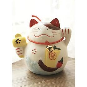 Tượng trang trí gốm sứ Mèo thần tài 10x5cm