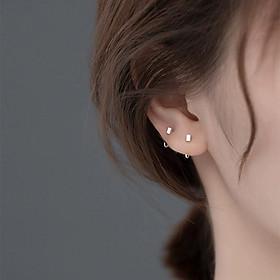 Bông tai bạc nữ Khuyên tai bạc nữ dạng vòng xỏ