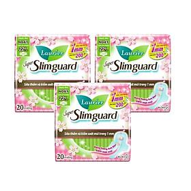 Combo 3 gói Băng Vệ Sinh Ban Ngày Hương Anh Đào Laurier Super Slimguard Siêu Mỏng Cánh 1mm (22,5cm-20M)