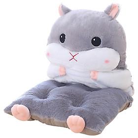 Gối Tựa Lưng Gối Ôm Đệm Lót Ghế Đa Năng Hình Chuột Hamster Siêu Hot (Màu Ghi Xám)
