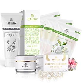 Bộ sản phẩm trắng da mặt Truesky P02 gồm 1 kem trắng da mặt 15g + 1 sữa rửa mặt nha đam 60ml + 3 miếng mặt nạ dưỡng da Truesky
