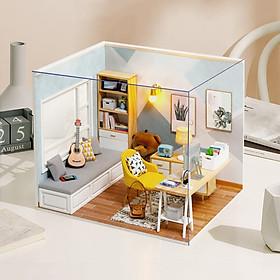 Đồ chơi lắp ghép  3D Mô hình nhà DIY Doll House Sunshine Study Kèm Mica Chống bụi
