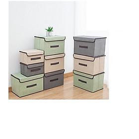 Set 2 bộ 4 hộp vải đựng quần áo, hộp đựng đồ , hộp vải đựng đa năng có nắp kèm quai xách tiện dụng, giao màu ngẫu nhiên