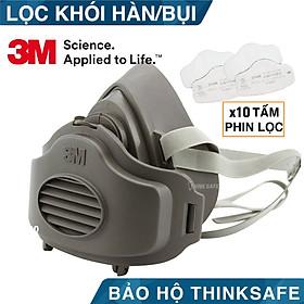 Mặt nạ phòng độc 3M 3200 kèm 10 tấm lọc 3744K lọc khói hàn hơi độc và lọc bụi mịn (3M 3200-3700-3744K/10)