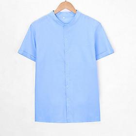 Áo Sơ Mi Nam Cộc Tay Vải Cotton Linen Màu Trơn Cổ Điển