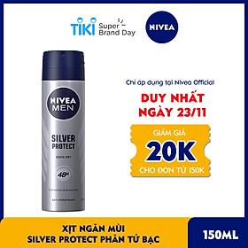 Xịt Ngăn Mùi NIVEA MEN Silver Protect Phân Tử Bạc Giảm 99.9% Vi Khuẩn Gây Mùi (150ml) - 82959