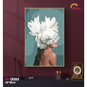 Tranh trang trí hiện đại tự tô màu theo số Gam Cô gái đầu hoa phong cách Bắc Âu