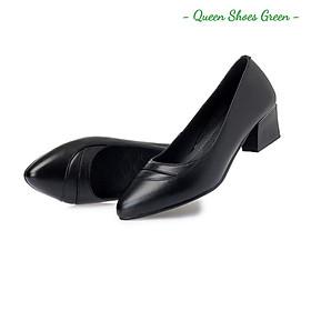 Giày búp bê nữ công sở, giày trung niên nữ gót vuông 4 phân mũi viền nhọn da mềm hàng VNXK màu đen đế cao su đúc siêu mềm tôn dáng lót êm ái size 36 đến 40 - Cam kết hàng chất lượng - Viền bóng 4 phân