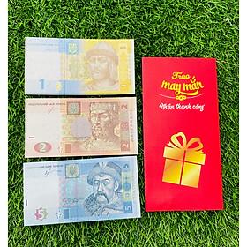 3 Tờ tiền Ukraina 1 2 5 Hryven, tiền giấy châu Âu, mới 100% UNC, tặng kèm bao lì xì