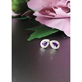 Bông tai bạc 92.5 cho nàng công sở Purple Drop
