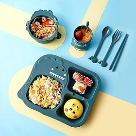 Set 6 Món Khay Ăn Khủng Long Cho Bé Chất Liệu Nhựa Sinh Học Lúa Mì