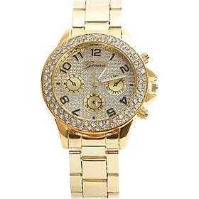 Wrist Watch Gold Crystal Steel Geneva Women