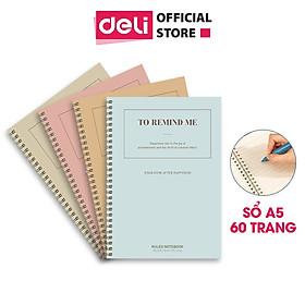 Sổ tay ghi chép A5 gáy xoắn 60 trang Deli - Kẻ ngang - Màu ngẫu nhiên - LA560-01