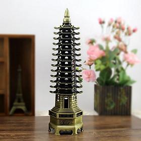Mô hình tháp Văn Xương 13 tầng cao 32cm, trang trí bàn học, bàn làm việc - Màu vàng rêu