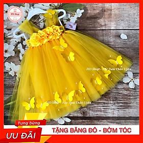 Đầm công chúa cho bé ️️ Đầm công chúa đính hoa hồng bướm cho bé gái