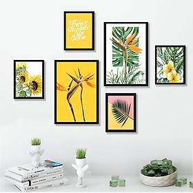 Tranh treo tường phòng khách, phòng ăn - Bộ 06 tranh chủ đề Tropical tặng kèm khung và đinh treo tường- TP167