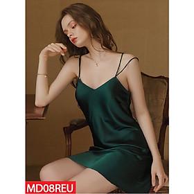 Đầm Ngủ Mặc Nhà Lụa Satin Mặc Nhà Hisexy Không Mút Ngực M08