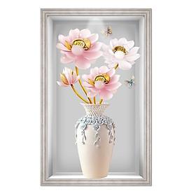 Tranh dán tường kim sa VTC Lọ hoa sen ngọc nhiều kích thước LoHoaDon_029