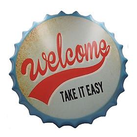 Welcome take it easy - Nắp phén 35cm vintage decor trang trí
