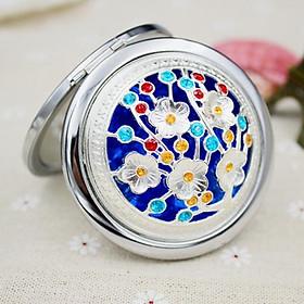 Gương mini cầm tay trang điểm kiểu gấp khắc hoạ tiết sang trọng, quà tặng cho phái đẹp