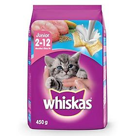 Đồ Ăn Cho Mèo Con 2-12 Tháng Whiskas Vị Cá Biển Và Sữa - Túi 450g