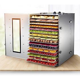 Máy sấy inox hoa quả thực phẩm 16 khay sấy - có điều chỉnh nhiệt và hẹn giờ- quạt đối lưu thông minh