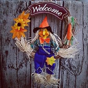 Biển Welcome treo cửa bằng rơm quấn hình phù thủy