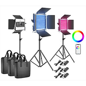 Bộ 3 đèn led quay phim chụp ảnh Neewer 660 RGB hàng chính hãng.