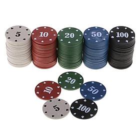100 Miếng Sòng Bạc Thẻ Trò Chơi Chip Poker Cóc trong Hộp cho Cờ Bạc Chống Đỡ