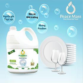 Nước rửa chén hữu cơ PeaceMass [AN TOÀN CHO DA NHẠY CẢM] rửa sạch bóng chén bát không lưu mùi -can 3.6l
