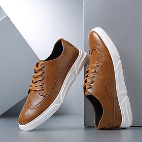 Men's plus size fashion trend sneakers breathable wear-resistant Korean leather shoes casual shoes