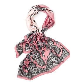 Khăn Choàng Cổ Lụa Hoa Đen Phối Màu Ombre Hồng Cẩm Quỳ - Silk - 180x90cm - Mã KS050