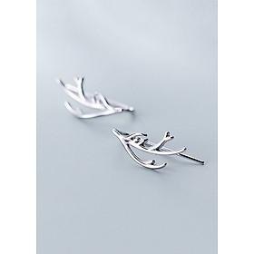 Bông Tai Nữ | Bông Tai Nữ Bạc Sừng Hươu B2436 - Bảo Ngọc Jewelry