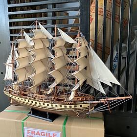 Mô hình thuyền gỗ thuyền trang trí tàu chở hàng France II - Gỗ muồng đen - Thân tàu 80cm - Buồm vải bố - Loại xuất khẩu