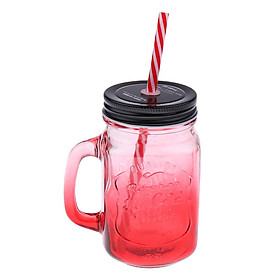 Ly Thủy Tinh Uống Nước Có Nắp Đậy Kèm Uống Hút (480ml)