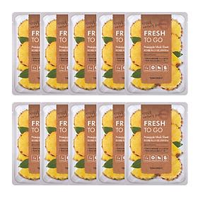 10 Mặt Nạ Tony Moly Fresh To Go Mask Sheet (10 x 22g) - Pineapple: Chiết xuất từ trái dứa (thơm) giúp da trắng sáng và mịn màng hơn