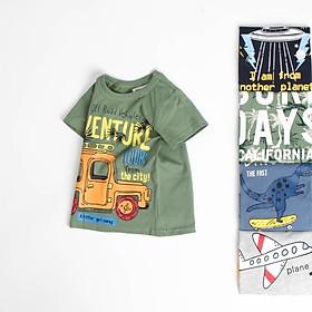 Áo thun bé trai cotton 100%, áo bé trai in hình khủng long, ô tô, máy bay 27KIDS02