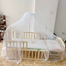 Cũi gỗ 2 tầng kích thước 1m2 có thể kéo dài thành giường 1m6 tặng kèm đệm sơ dừa , màn ( mùng ) chống côn trùng