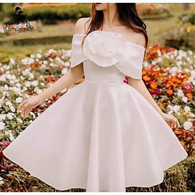Đầm xoè bẹt vai hoa hồng ngực TRIPBLE T DRESS -size M/L - MS223V
