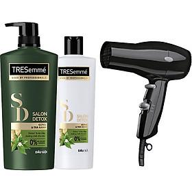 Combo Dầu gội 650gr và Dầu Xả 340gr Tresemmé Salon Detox gừng và trà xanh Detox tóc chắc khỏe tặng kèm Máy sấy tóc thời trang-0