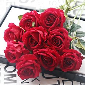 Combo 10 Bông Hoa Giả Hoa Hồng Nhung Cao Cấp